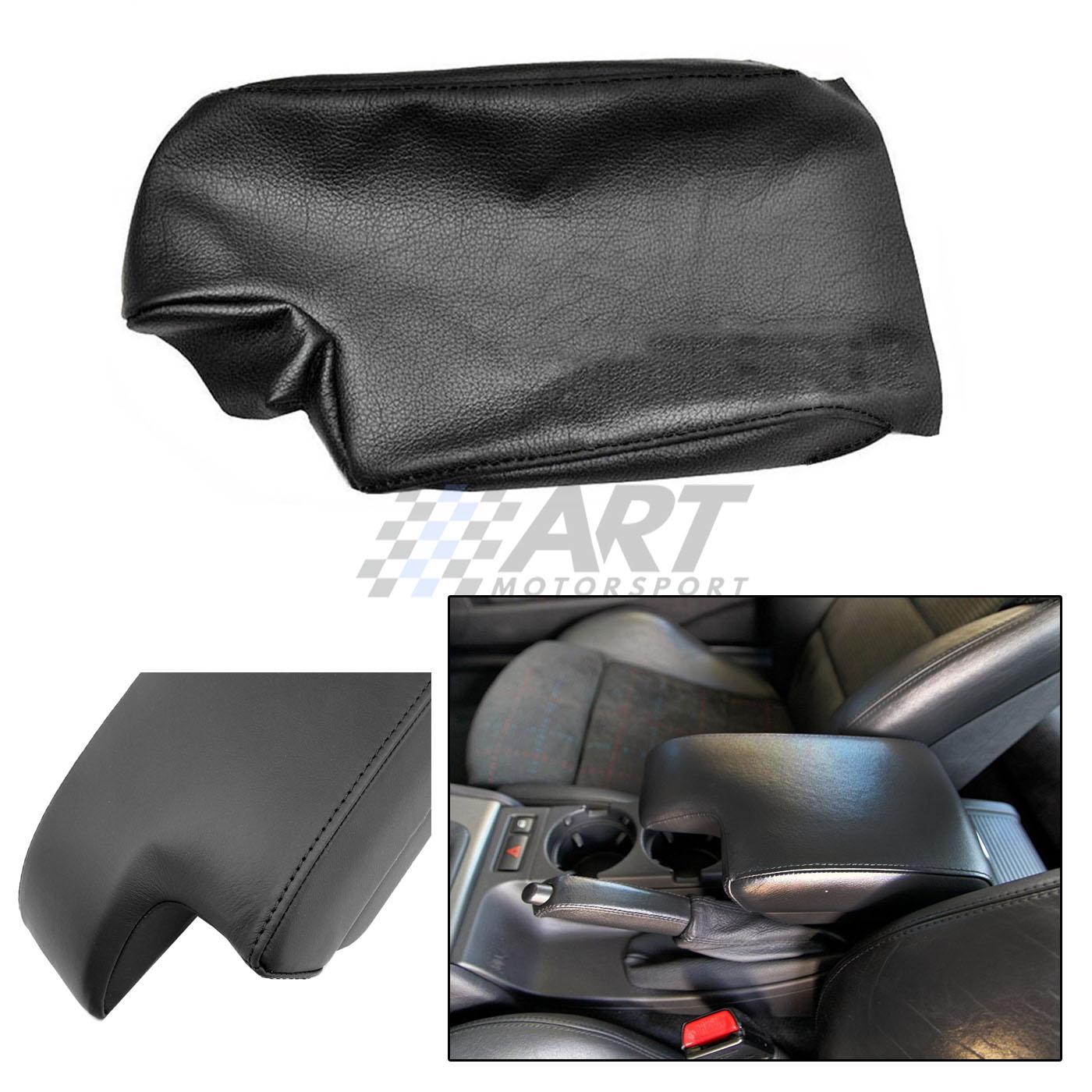 Funda de reposabrazos para Bmw E46 Sedan en cuero negro con costura negra