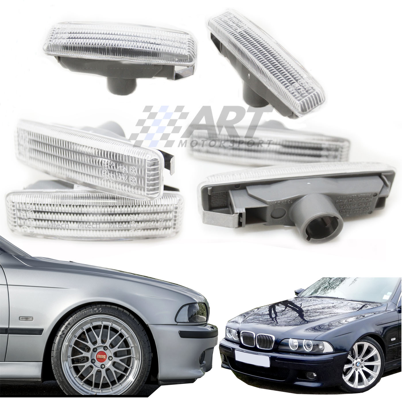 Turn Singal for BMW Z3 Finish Blackout Approved Smoked Side Markers