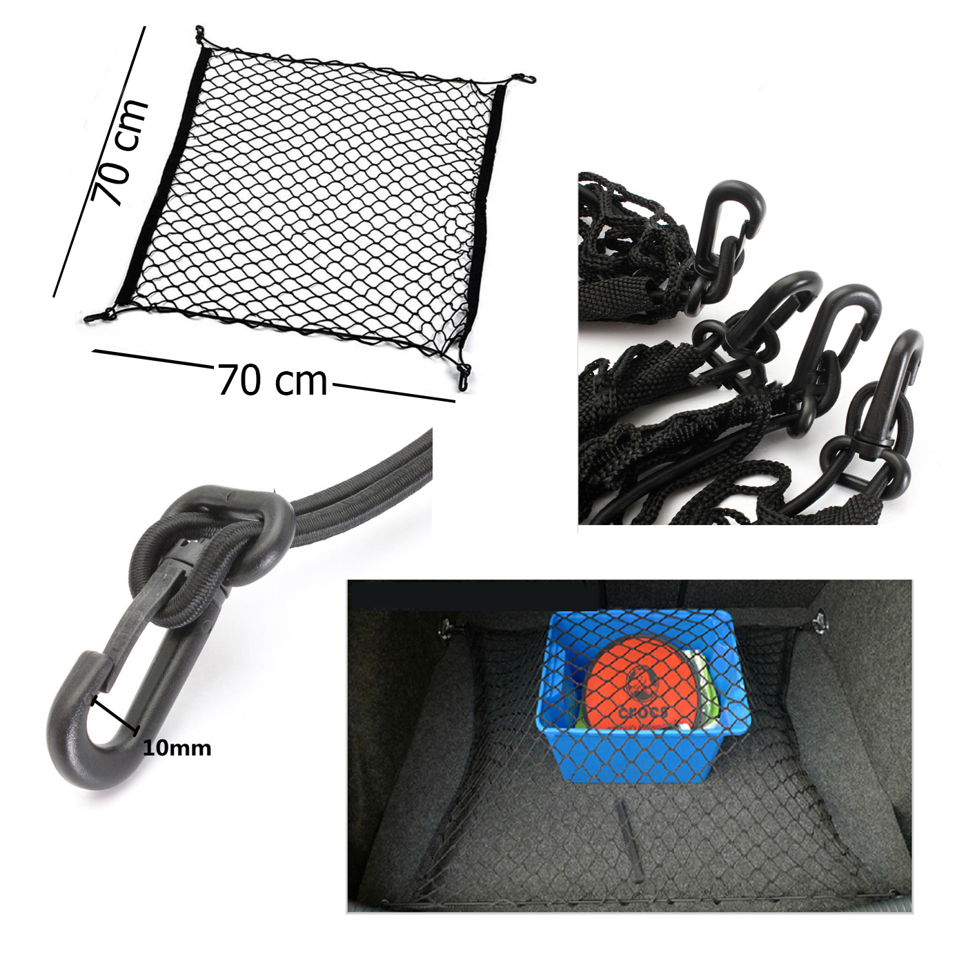 Red elástica para casco de moto 60cm de largo 2 ganchos 4 cuerdas